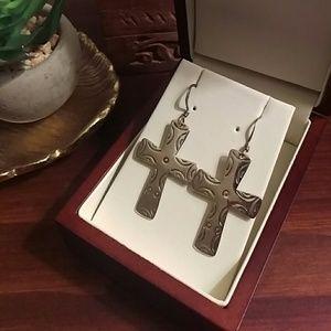 Southwest style sterling silver cross earrings
