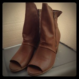 Wild Pair Shoes - Brown Peep Toe Booties