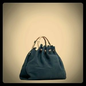 Zara Blue Bucket Bag with Handle Detail