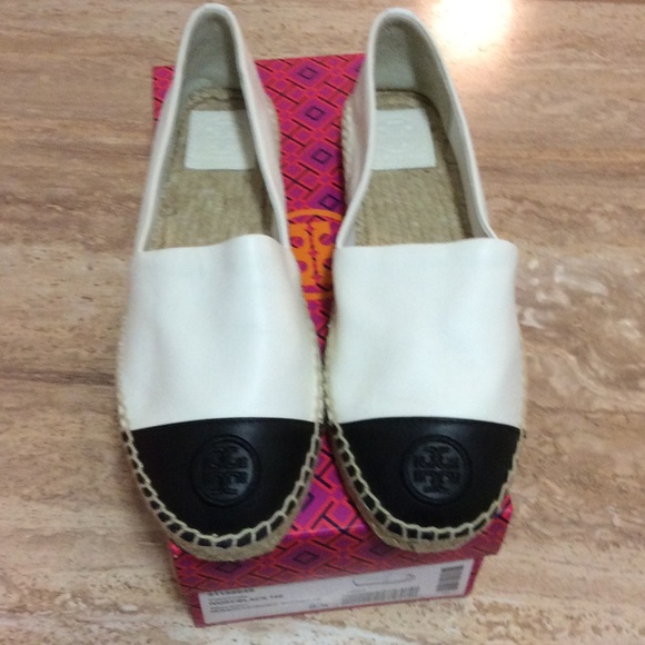 91468542216 TORY BURCH COLORBLOCK ESPADRILLE FLATS IVORY 9.5