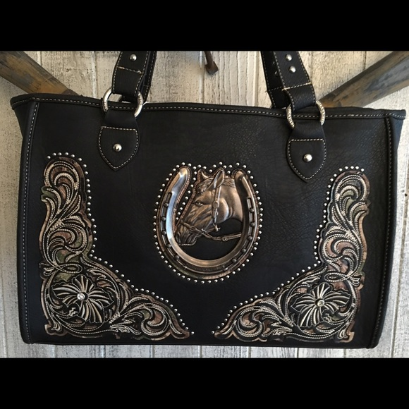 Montana West Black Horse Gun Concealed Handbag! 50e884b4d32b9