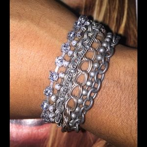 Mixed metal and stone bracelet