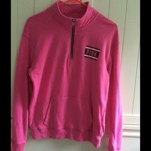 VS Pink Half Zip Sweatshirt Pink Womens  XS