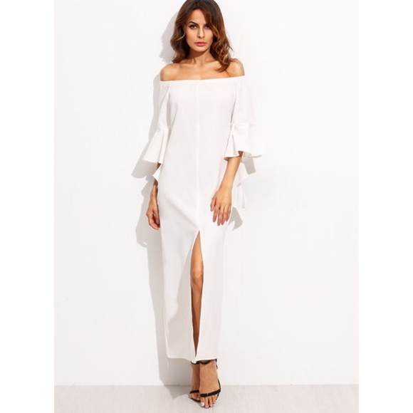 483ab489888 White Off Shoulder Bell Sleeve Split Maxi Dress
