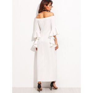 fa2a5e43505 Zara Dresses - White Off Shoulder Bell Sleeve Split Maxi Dress