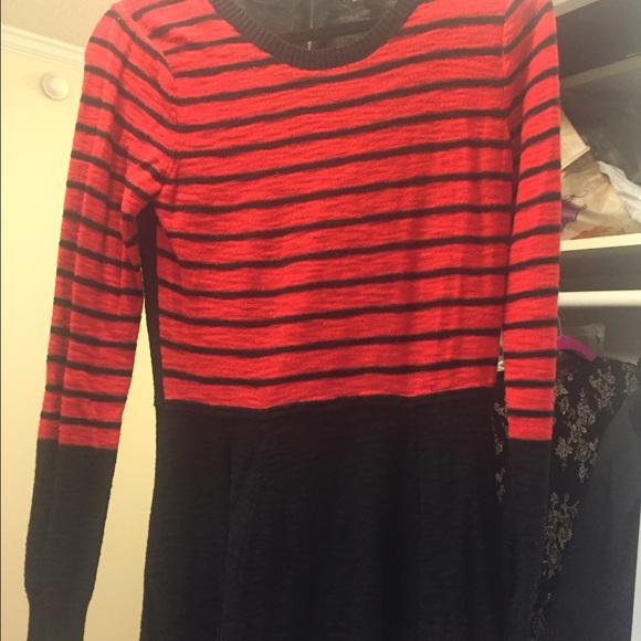 f0d0f722d2 Express Dresses   Skirts - Express Sweater dress red black stripe zip back