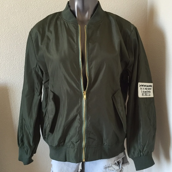 Jackets & Coats - Army Green Embroidered Patch Bomber Jacket