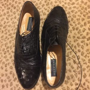Avventura black Ostrich lace-up loafers