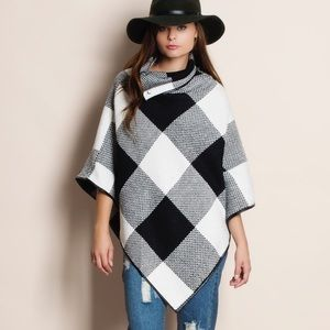 Cowl Neck Plaid Poncho