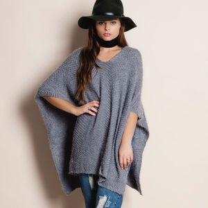 Bare Anthology Sweaters - Grey Soft Fuzzy Poncho
