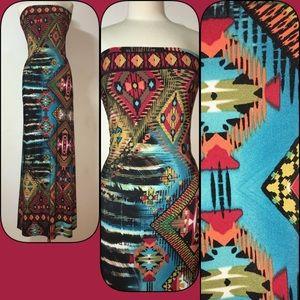 Snap Dresses & Skirts - Strapless Aztec Print Maxi Dress....Size Small
