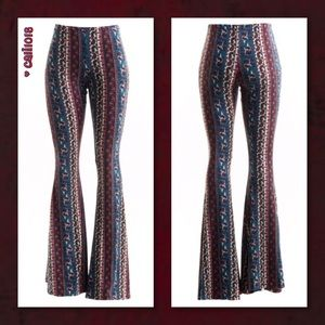 Glam Squad 2 You Pants - JUST IN 🆕 Blue Multi Color Boho Bell Bottom Pants