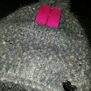 Betsey Johnson Jeweled Pom Pom Hat