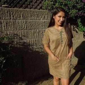 Boutique  Dresses & Skirts - Brown Faux suede shift Lace up dress
