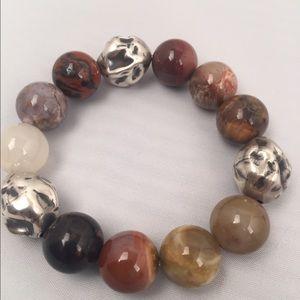 Jewelry - Handmade Petrified Wood and 925 SS Bracelet