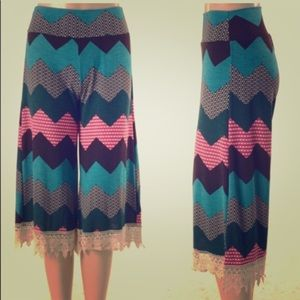Pants - Zig zag and Lace Capris
