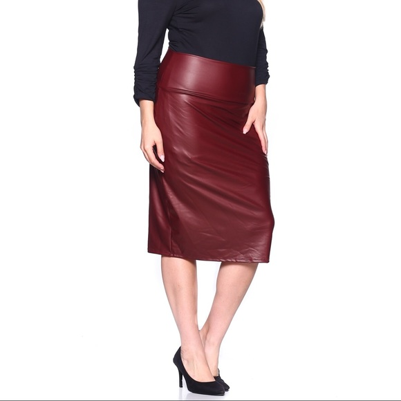 Plus Size Faux Leather High Waist Zipper Front Pencil Skirt Black Burgundy.