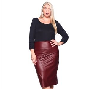 Dresses & Skirts - Burgundy Faux Leather Pencil Midi Skirt