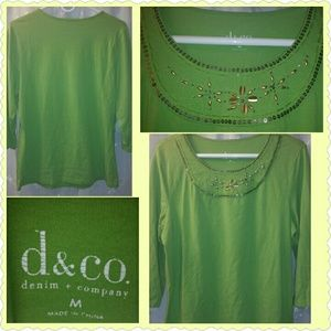 Denim & Co Tops - DENIM & CO  Womens 3/4 Sleeve Beaded Top