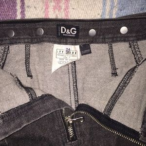 DOLCE & GABBANA raw edge moto denim mini skirt