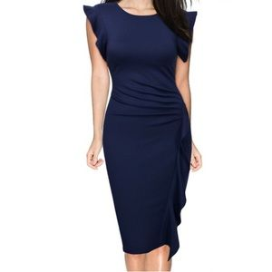 Miusol Dresses & Skirts - Striking blue bodycon flutter front dress.