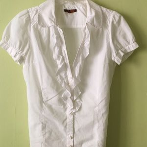 Zara Tops - Zara TRF White Blouse with Ruffle Front Detail