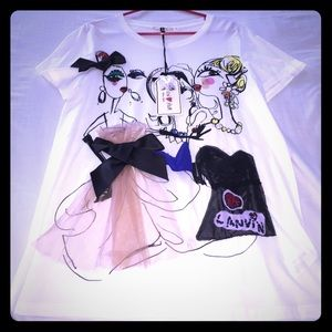 Lanvin for H&M Tops - 💯LANVIN FOR H&M WHITE TEE SHIRT TOP NWT L
