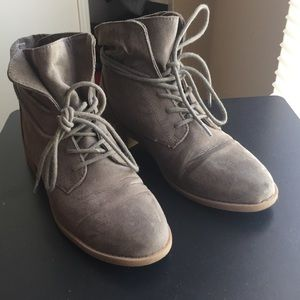 Taupe Lace Up Booties.