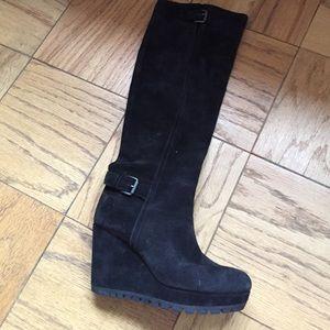 11a606b52bd Prada Shoes - Prada black suede knee length wedge boots. Size 39