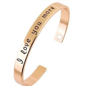 "October Love Jewelry - ""I Love You More"" Rose Gold Plated Bangle"