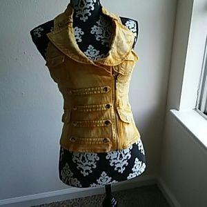Jackets & Blazers - Yellow zipper jean vest