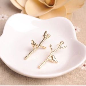 October Love Jewelry - Gold Bird & Branch Earrings from October Love