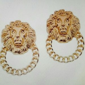 Gold Plated Lions Head Earrings new