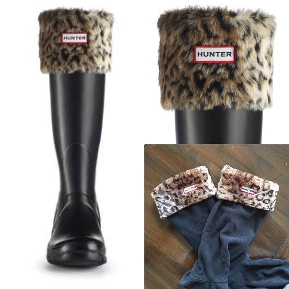 de7bc40e04a Hunter leopard fleece Welly Sock boot inserts