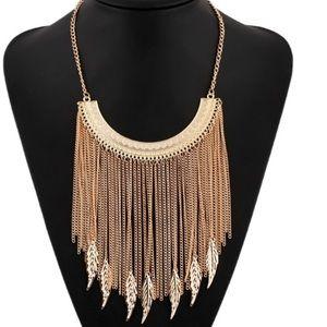 Long Chain Gold Leaf Tassel Statement Necklace