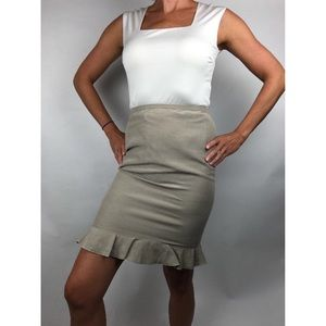 Armani Collezioni Tan Pencil Silk Skirt Size 6