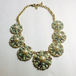 Mint & Pearl Statement Necklace with Rhinestones