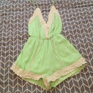 Other - Medium green lace open back romper