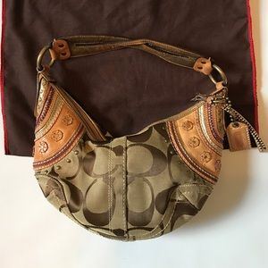 Coach Signature Brown a Canvas Hobo Satchel