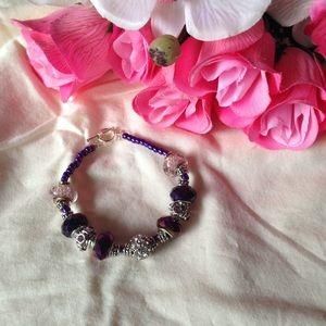 Purple & silver charm bracelet
