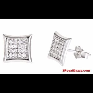 3 Royal Dazzy Jewelry - Square kite CZ Sterling Silver Micro Pave Earrings