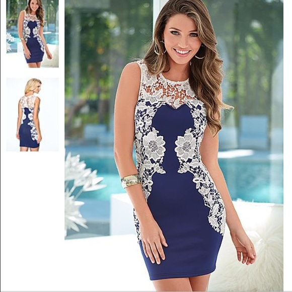 80ef65fbd974 Navy blue and white lace dress from Venus