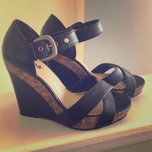 Diba Shoes - Black Cork Wedges