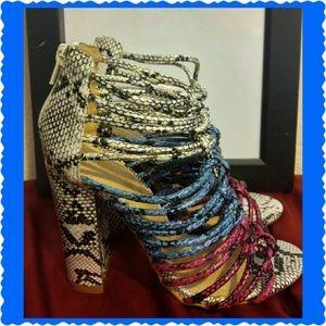 Shoedazzle Estella multi-colored snakeskin heels