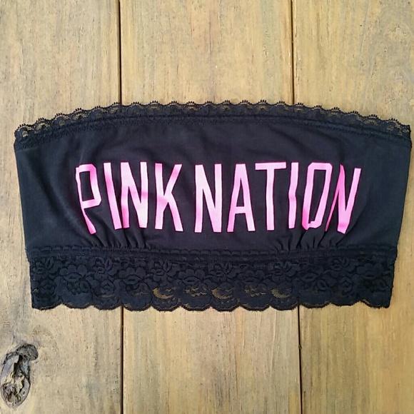 5215745f57 V.S. PINK Pink Nation Lace Trim Bandeau Bra Top