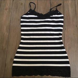 Express Cami Black White Stripes Lace Trim
