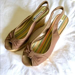 American Eagle Outfitters Shoes - AE Brown Canvas & Cork Peep Toe Wedges