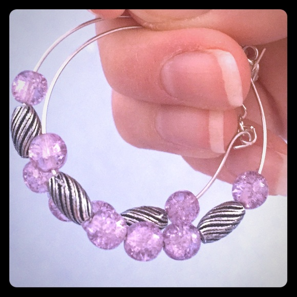 57673b67d Alex and Ani Jewelry   Alex Ani Silver Tone Purple Bead Hoop ...