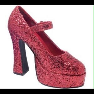 Ellie Shoes - Red Glitter Mary Jane Chunky Platform Shoes