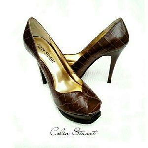 Colin Stuart Shoes - COLIN STUART BROWN CROC LEATHER PLATFORM HEELS